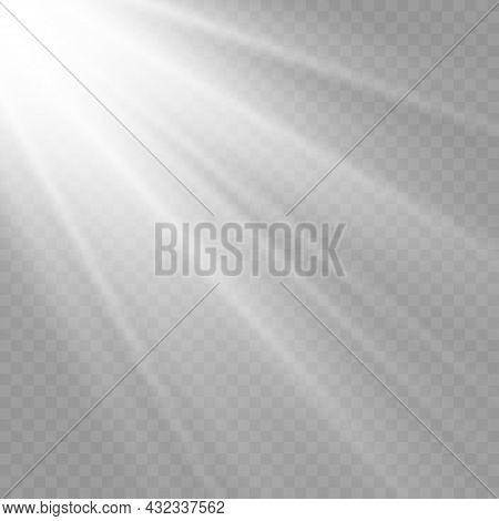 Sunlight Flash, Sun Rays, White Beam Light.