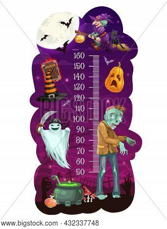 Kids Height Chart With Cartoon Halloween Monsters, Growth Measure Meter, Vector Background. Kids Hei