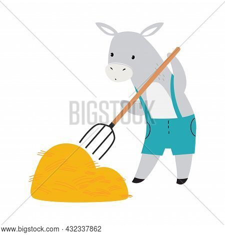 Cute Donkey As Farm Animal On Ranch Gathering Hay With Pitchfork Vector Illustration