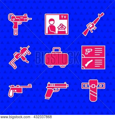 Set Weapon Case, Pistol Or Gun, Knife Holster, Catalog, Mauser, Mp9i Submachine, M16a1 Rifle And Uzi