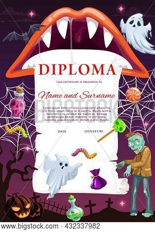 Kids Diploma Template With Halloween Monsters. Child School Diploma, Children Graduation Vector Cert