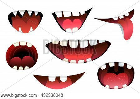 Cartoon Mouth Expression Of Monsters And Creatures Smiling, Angry And Shouting With Tongue. Collecti