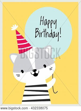 Happy Birthday Card With Whiskered Cat As Farm Animal With Balloon As Holiday Greeting And Congratul