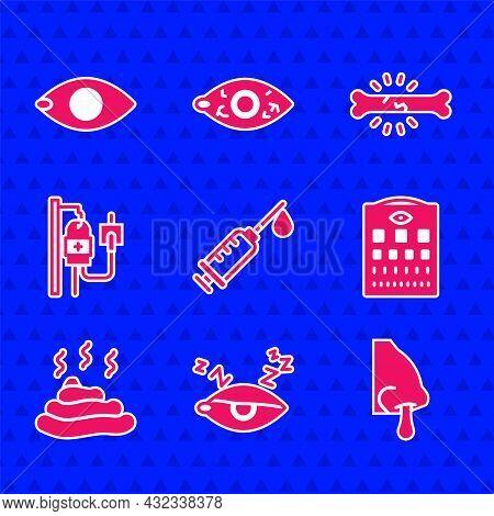 Set Syringe, Insomnia, Runny Nose, Eye Test Chart, Shit, Iv Bag, Bone Pain And Blindness Icon. Vecto