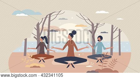 Serene People And Calm Meditation As Peace Lifestyle Tiny Person Concept. Psychological And Mental R