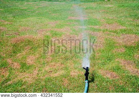 Watering The Lawn With Sprinkler, Spraying Clean Water Stream Plastic Sprinkler On The Grass Lawn. S