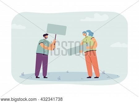 Cartoon Man And Woman Holding Blank Placard And Banner. Male And Female Characters At Demonstration