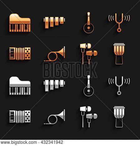 Set Trumpet, Musical Tuning Fork, Drum, Air Headphones, Accordion, Banjo, Grand Piano And Pan Flute