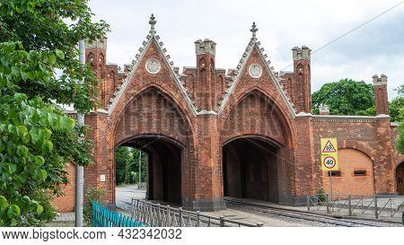 Brandenburg Gate Is One Of Seven Surviving City Gates In Kaliningrad, Russia, The Former German City