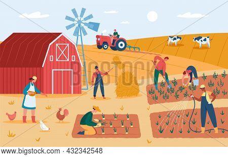 Farmers Working At Farm, Harvesting Crops, Feeding Animals. Countryside Farmland With Barn, Windmill