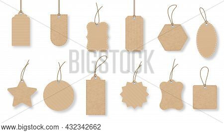 Paper Price Tags, Luggage Label With String, Gift Tag. Old Vintage Sale Labels In Various Shapes. Pr