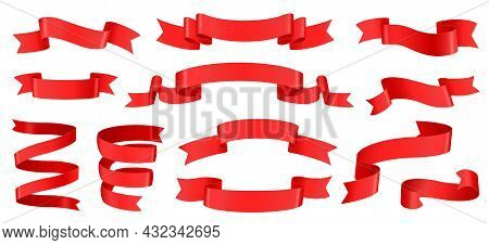 Realistic Red Ribbons, Silk Banner Decoration Element. Empty Curled Tape Labels For Product Sale, Di