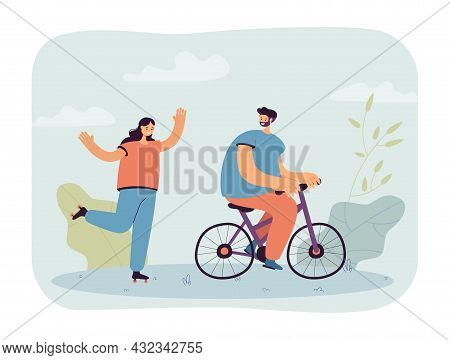 Husband Riding Bicycle Looking At Wife On Roller Skates. Woman Roller Skating And Man On Bike Flat V