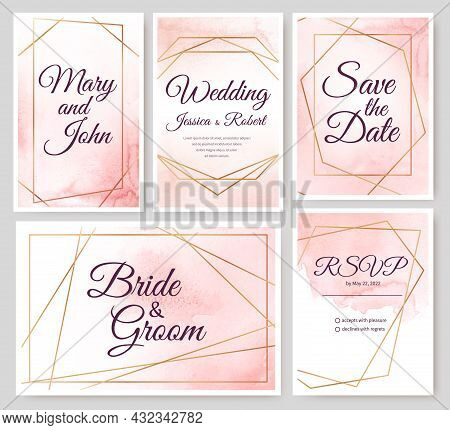Wedding Invitation Cards With Gold Geometric Elements And Watercolor Background. Luxury Minimal Invi
