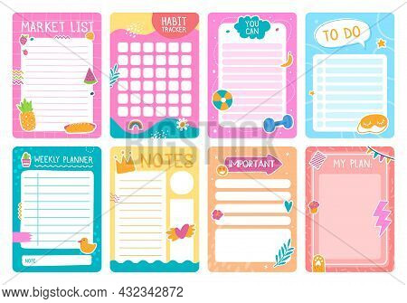 Cute Planner Pages With Stickers, Notebook Or Diary Template. Weekly Planner, To Do List, Habit Trac