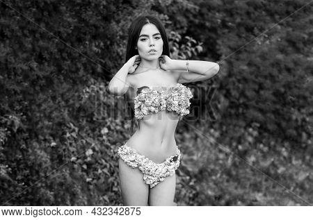 Girl With Flowers Instead Of Underwear, Flowering. Sensual Woman, Flower Bra, Panties. Spring Girl.