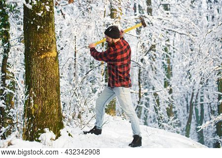 Bearded Man Chopping A Tree. Bearded Lumberjack. Brutal Bearded Lumberjack With Ax In Winter Forest.