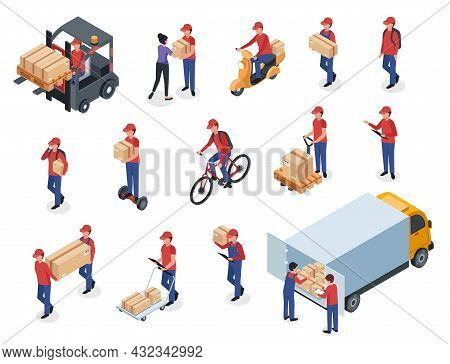 Isometric Delivery Men With Boxes, Warehouse Workers, Postmen. Couriers In Uniform Delivering Packag