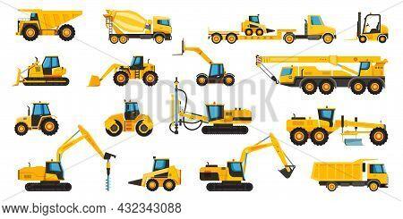 Construction Machines, Equipment And Heavy Building Machinery. Crane, Excavator, Bulldozer, Tractor,