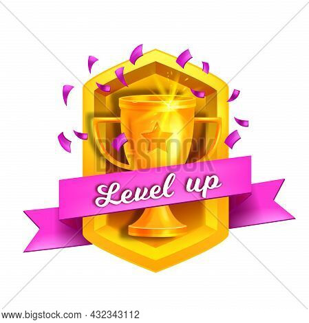 Level Up Game Vector Icon, Bonus Rank Reward, Golden Cup, Confetti, Purple Ribbon Isolated On White.