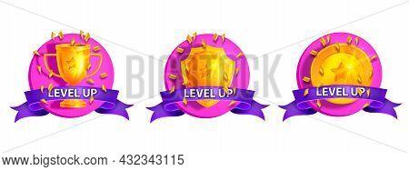 Ui Game Level Up Vector Icon Kit, Golden Goblet, Rank Shield, Achievement Medal, 3d Trophy Sticker S