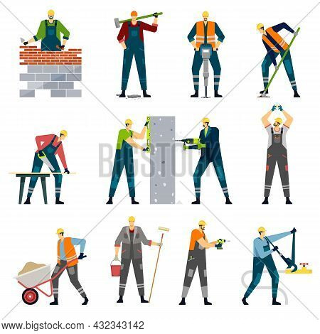 Construction Workers With Professional Tools, House Builders At Work. Carpenter, Wall Painter, Maint