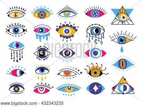 Mystic Evil Eyes, Esoteric Ethnic Eye Elements. Providence Or Protection Talisman Symbol, Magic Occu