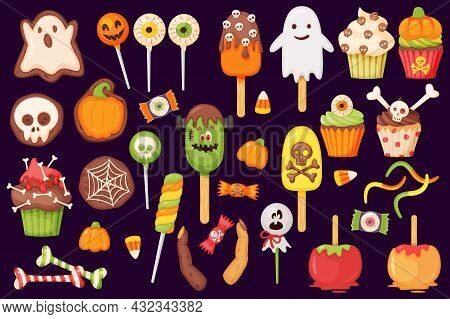 Cartoon Halloween Candies And Sweets, Lollipops And Cupcakes. Caramel Apple, Pumpkin And Ghost Cooki