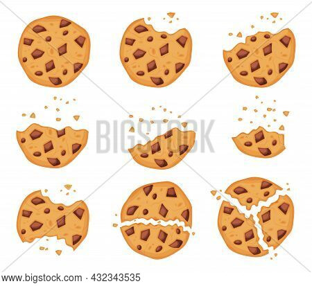 Crumbled Oatmeal Cookies With Chocolate Chips, Bitten Biscuit. Cartoon Broken Cookie Pieces, Sweet C