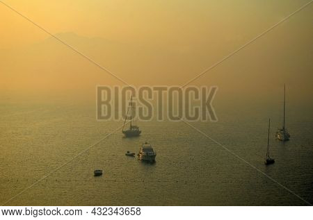 Smog in Marmaris bay at morning after forest fire. July 30 2021. Marmaris, Turkey
