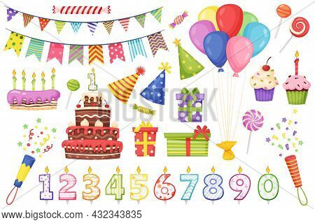 Cartoon Birthday Party Decoration Elements, Cakes With Candles. Colorful Bunting Flags, Balloons, Pa