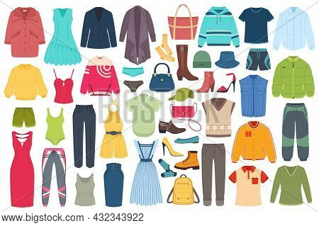 Men And Women Fashion Clothing Accessories, Hats, Footwear. Summer Or Winter Outfits, Fashionable Ca