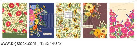 Notebook Covers With Spring Flowers, Artistic Floral Cover Page. Trendy Planner Or Notebooks Backgro