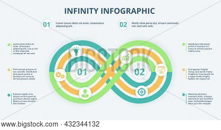 Infinity Infographic, Loop Timeline Diagram, 2 Steps Or Options Chart. Business Strategy Model, Inve