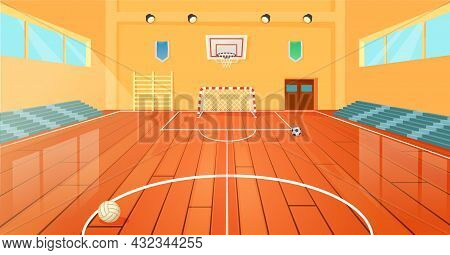 Cartoon School Basketball Gym, Indoor Sports Court. Empty University Gymnasium With Basketball Hoop