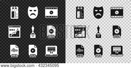 Set Cinema Ticket, Drama Theatrical Mask, Play Video, Mp3 File Document, Flv, Recorder On Laptop, Hi