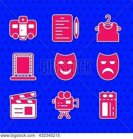 Set Comedy Theatrical Mask, Retro Cinema Camera, Cinema Ticket, Drama, Movie Clapper, Makeup Mirror