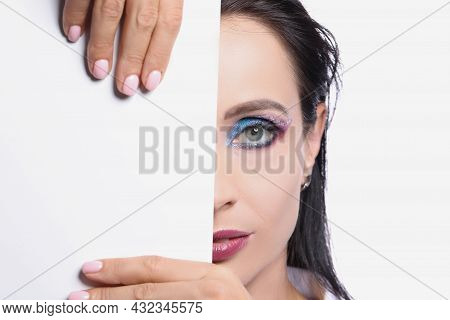 Model With Colored Eye Makeup, Perfect Half Face Skin With White Card Template