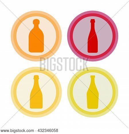 Bottle Of Red Wine, Champagne, Vermouth, Tequila. Background Is Circle. Isolated Color Object Design