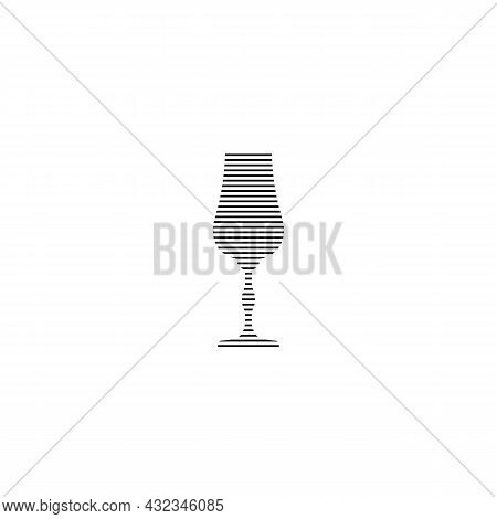 Liquor Glass In Minimalist Linear Style. Silhouette Of Glassware Performed In The Form Of Black Thin