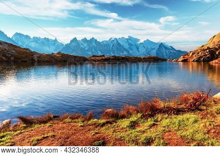 Picturesque view of Chesery lake (Lac De Cheserys) and snowy Monte Bianco mountains range on background, Chamonix, France Alps. Landscape photography