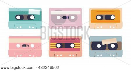 Various Audio Tapes. Isolated Illustration Of Audio Cassettes. Set Of Vector Elements For Retro Desi