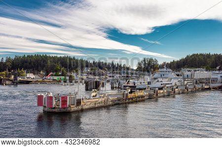 Victoria, Vancouver Island, British Columbia, Canada - August 7, 2021: Bc Ferries Terminal In Swartz
