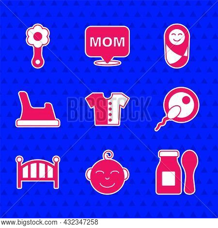 Set Baby T-shirt, Little Boy Head, Yogurt In Bottle With Spoon, Sperm, Crib Cradle Bed, Potty, Newbo