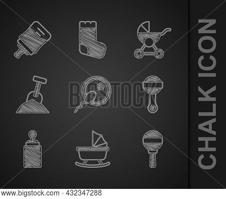 Set Sperm, Baby Stroller, Rattle Baby Toy, Bottle, Sandbox With Sand And Shovel, And Icon. Vector