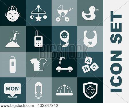 Set Baby On Shield, Abc Blocks, Bib, Stroller, Monitor Walkie Talkie, Sandbox With Sand And Shovel,