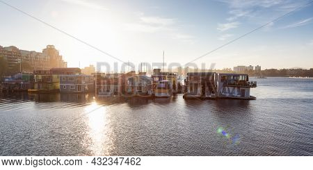 Downtown Victoria, Vancouver Island, British Columbia, Canada - August 18, 2021: Homes On The Water