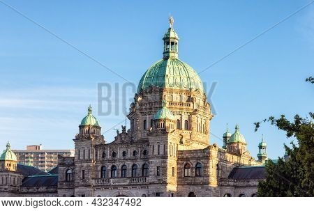 Downtown Victoria, Vancouver Island, Bc, Canada - August 18, 2021: Legislative Assembly Of British C