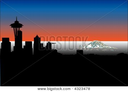 Seattle Space Needle And Mt. Rainier Sunset Silhouette Vector Illustration