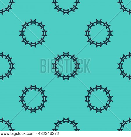 Black Line Crown Of Thorns Of Jesus Christ Icon Isolated Seamless Pattern On Green Background. Relig